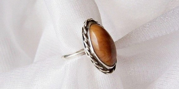 Petrified Wood / Sterling Silver Ring - Size 5 - G1009