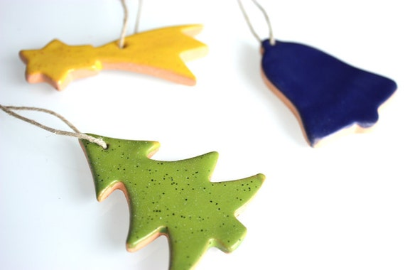 Set of Three terracotta Christmas Ornament, Decoration or gift tags