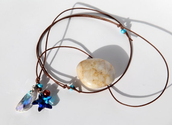 Go beaches Swarovski crystal starfish necklace on cord