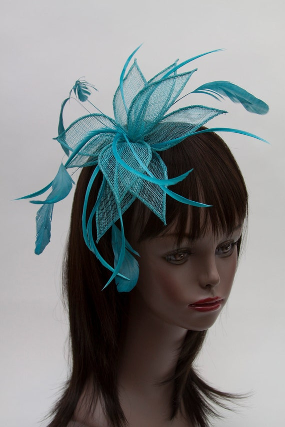 Turquoise Petal Sinamay Fascinator on a comb Wedding, Parties, Races, Proms