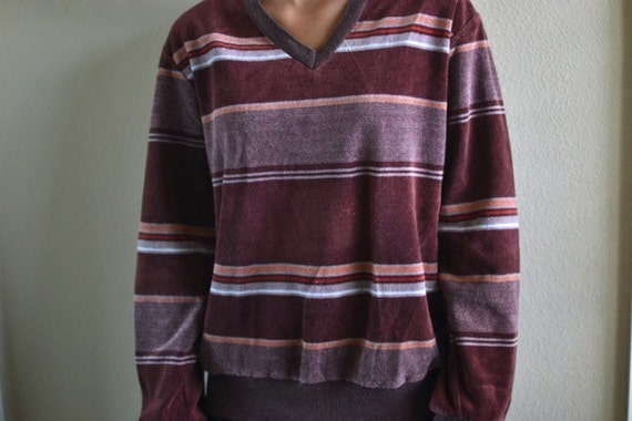 Men's Vintage 1970s Long Sleeve Brown Velour Shirt
