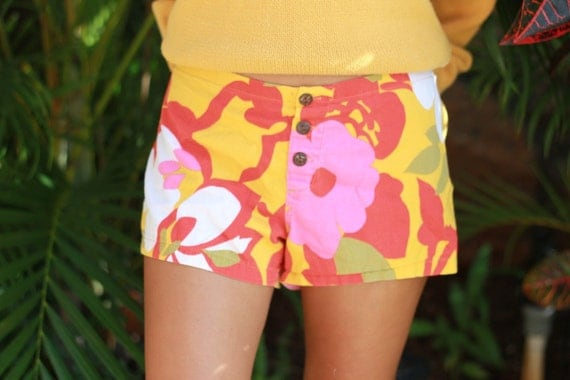 Teen's Vintage Hawaiian Print Drawstring Shorts
