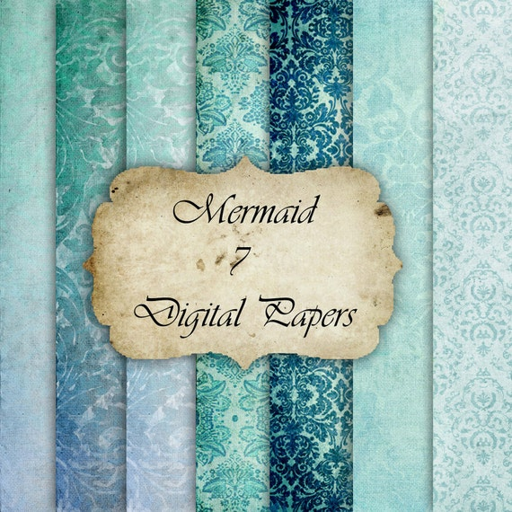 Mermaid- Digital Paper for Scrapbooks, graphics, decoration, backgrounds, invitation