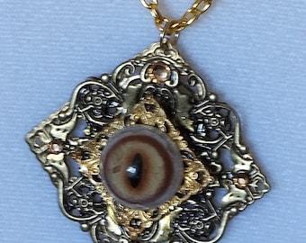 SALE PRICE Golden Lynx Eye Filigree Pendant w Chain
