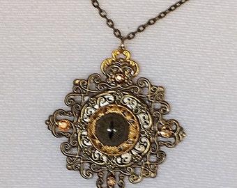 Dark Reptile Eye Square Filigree Pendant w Chain
