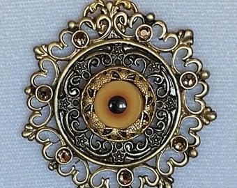 SALE PRICE Yellow Bird Eye Circular Filigree Pendant