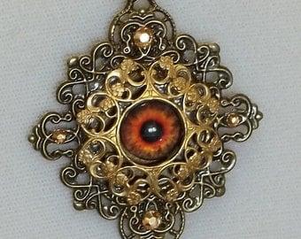 Red Eye Lacy Filigree Pendant