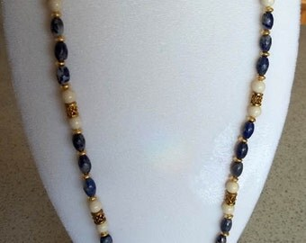 Denim Lapis and Riverstone Necklace