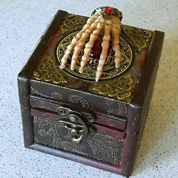 Wooden Trinket Box with Skeletal Hand