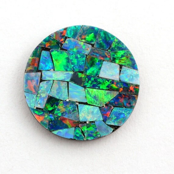 Opal Mosaic 13mm Round Stone, Genuine Opal Mosaic- 1 Stone