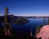 Crater Lake and Wizard Island handmade photo notecard.