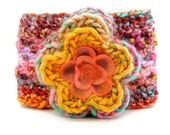 Flower hippie headband. Colorful hippie chic crochet headband with flower and floral button