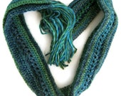 Sea Goddess long, skinny fashion scarf with tassels - Soft and skinny, Long and thin blue and green crochet scarf made of soft yarn