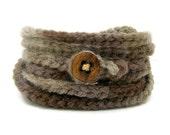 Brown wrap bracelet with vintage button - chain wrap yoga bracelet in shades of brown, tan - autumn / fall fashion 2012