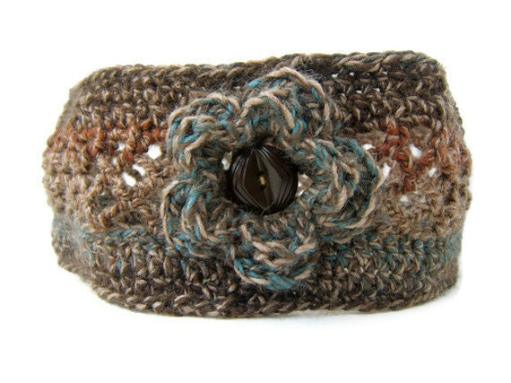 Soft brown head band for women. Stretchy, comfortable headband with flower and vintage button.  Fall fashion finds for 2012