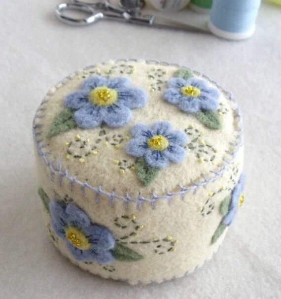 Wool Felt Pin Cushion with Blue Flowers