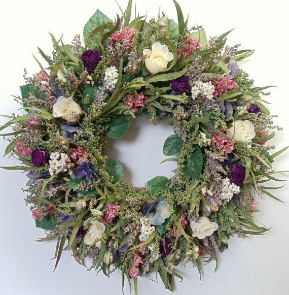 Dried Flower Wreath with Dried Roses and Silk Roses