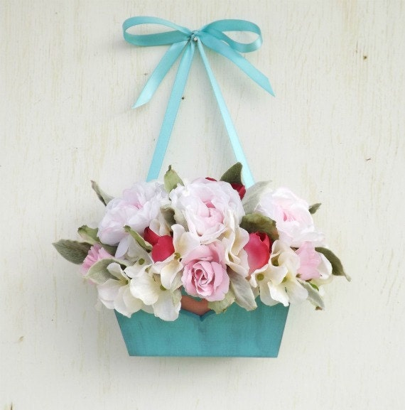 Silk Flower Arrangement with Silk Roses. Shabby Chic Pink and Turquoise.