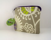Tan, lime, and purple coin purse in Waverly home decor-weight cotton.