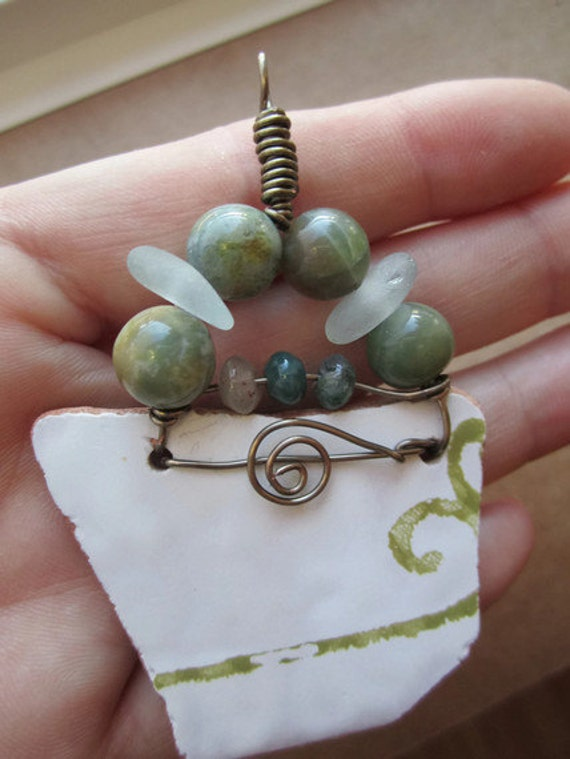 Shipwrecked -sea glass,jasper and sea pottery pendantl