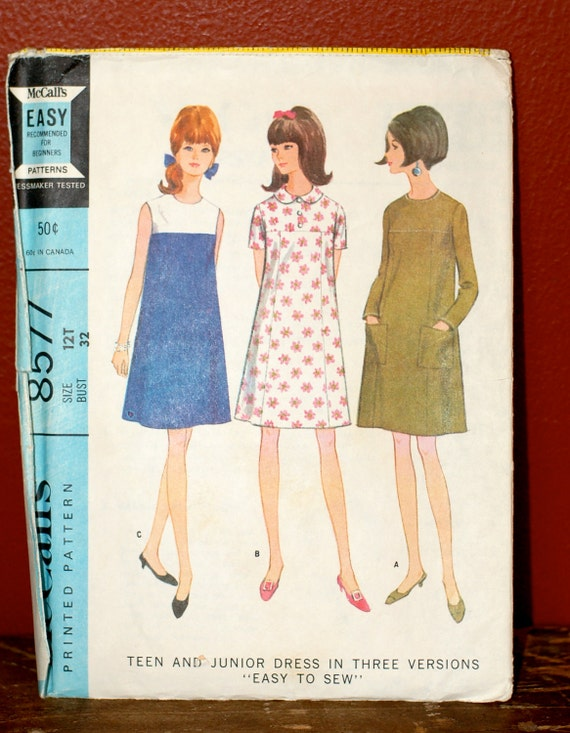 VTG 1960's McCall's 8577 Teen and Junior Dress Pattern Size 12T