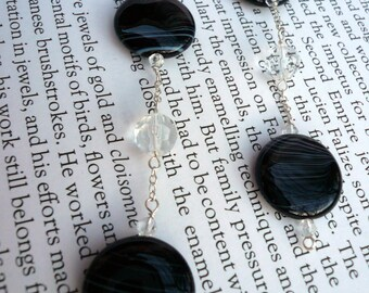 Black and White Striped Agate and Faceted Glass Earring on Sterling Silver