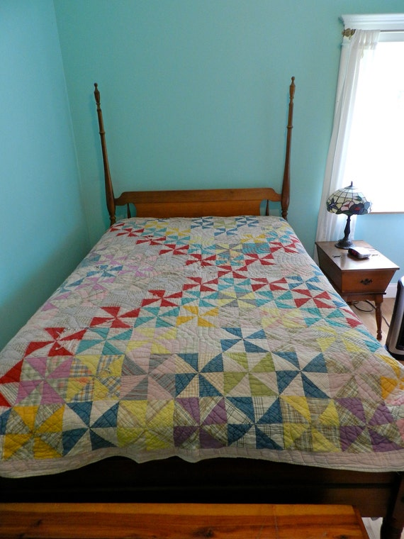 Vintage Handstitched Pinwheel Patchwork Antique Quilt