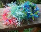 Fuzzy Fun Ponytail Holders - Crazy Yarn around High Quality Stretchy Bands