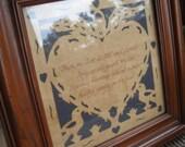 Hush My Dear, Lie Still and Slumber Vintage Handmade Framed Lullaby German Scherenschnitte Paper Cutting