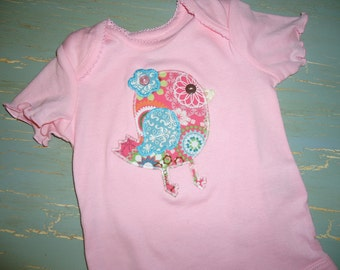 Appliqué Little Baby bird girl birthday valentines day pink onesie tshirt bodysuit baby shower gift