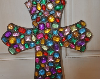 Multi-color Jeweled Decorative Wood Cross