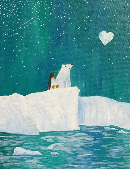 Polar Bear Penguin Heart Moon Baby Nursery Painting