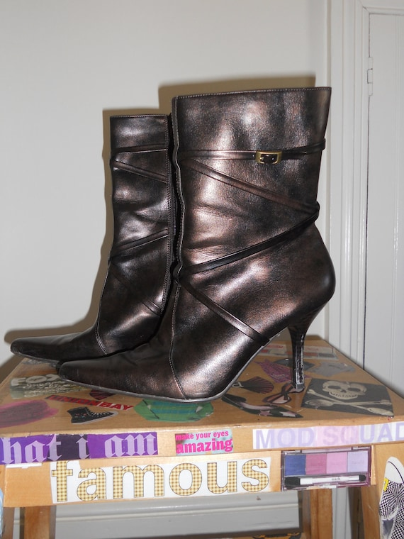 Bronze Brown Boots Pointy Toe by Madeline Size 8 1/2