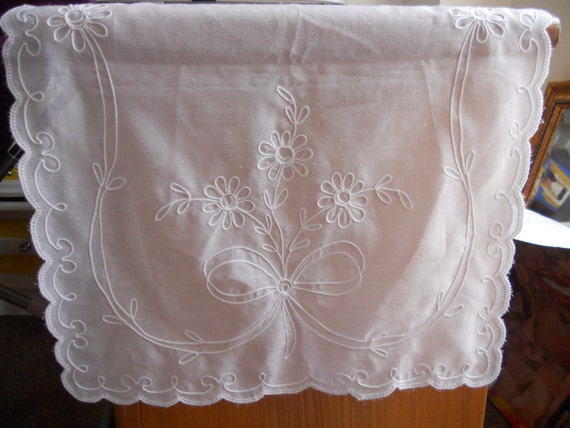 Vintage Dresser Scarf  Emboidered Sheer White Country french Cottage Chic