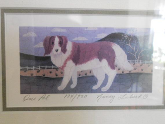 Vintage St. Bernard Print Dog  Picture Folk Art Wooden Framed Matted Signed Nancy Lubeck Saint bernard