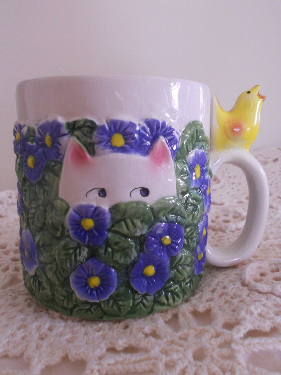 Cat Mug Coffee Cup Blue Flowers Primrose Yellow Bird Kitty Cat