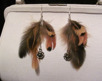 Brown feather earrings with peek-a-boo antiqued rose