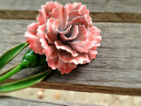 RESERVED. Please do not purchase.Lovely Vintage Enamel Metal Pink Flower Brooch with 3D Petals