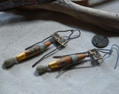 brass and steel long dangle earrings