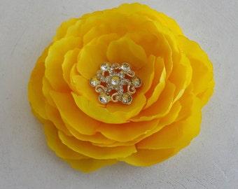 Womens Bright Yellow Ranunculus Flower Hair Clip w/Rhinestone - Womens Hair Pin, Brooch, or Clip