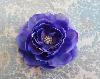 Beautiful Purple Flower Hair Clip w/Rhinestone - Flower Brooch - Womens Hair Clip - Girls Hair Clip