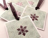 Purple Winter Snowflakes Gift Tags, Stamp Embossed, Blank Plum Ribbon Mini Cards, Handmade Christmas Tags