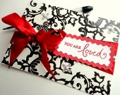 YOU ARE LOVED Black & White Blank Inside Greeting Card, Ruby Red Ribbon, Stamp Embossed, Handmade, For Her, Valentine