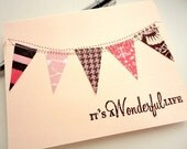It's a Wonderful Life Bunting Flag Banner Sewn Greeting Card, Summer Pale Pink Brown, Glitter, Stamp Embossed, Spring Pastels