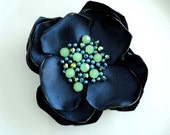 Navy Fabric Flower Pin, Silk Floral Pin, Silk Flower Brooch Beads, Navy Blue and Lime Green, Fabric Brooch, Beaded Flower Broach Woman Gift