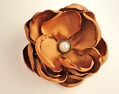 "2.5"" Burnt Orange Fabric Flower Hair Accessory, Rustic Country Fall Wedding Flower Hair Piece Bridesmaid Clip, Orange Silk Floral Hairpiece,"