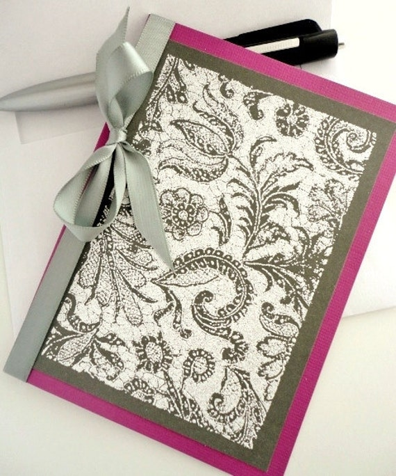 PAISLEY Happy Birthday Card, Silver, Purple, Gray, Ribbon, Embossed Stamps, Glitter, Charcoal, Spring Floral