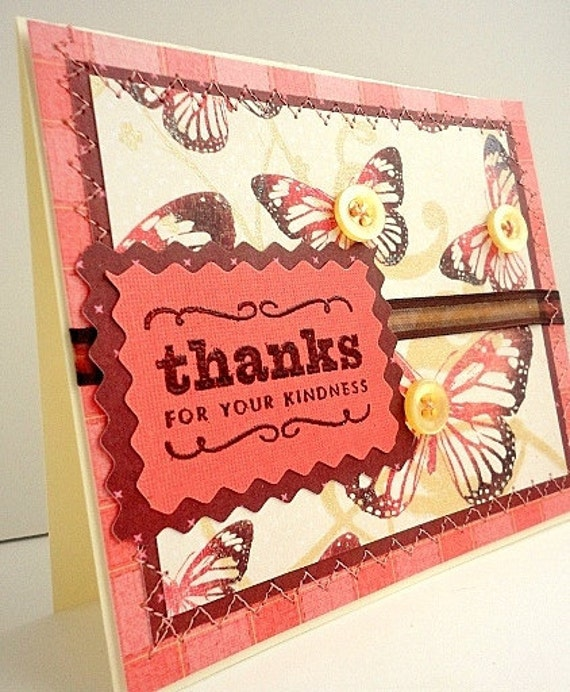 Thank You blank inside Greeting Card, Thanks for your Kindness, Pink, Brown, Butterfly, Button, Glitter, Summer, Coral, Sewn, Thread