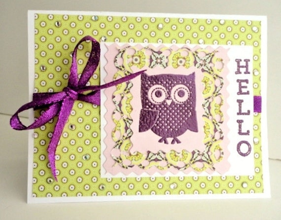 Owl Blank Inside Greeting Card, Lime Green and Purple, Sparkle Ribbon, Embossed Stamp, Deep Plum, Hello