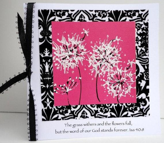 RELIGIOUS Painted Dandelion blank inside Greeting Card, Isaiah 40, Hot Pink, Velvet Black Damask, Christian Scripture Art